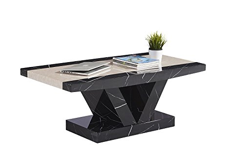 7Star Soni Marble Effect Solid Made MDF Coffee Table in Black and Brown (Black) 7Star Furniture