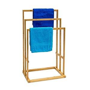 Relaxdays - Toallero de bambú, Medidas: 40 x 24,5 x 82 cm, Capacidad: 3 toallas, Material: Bambú
