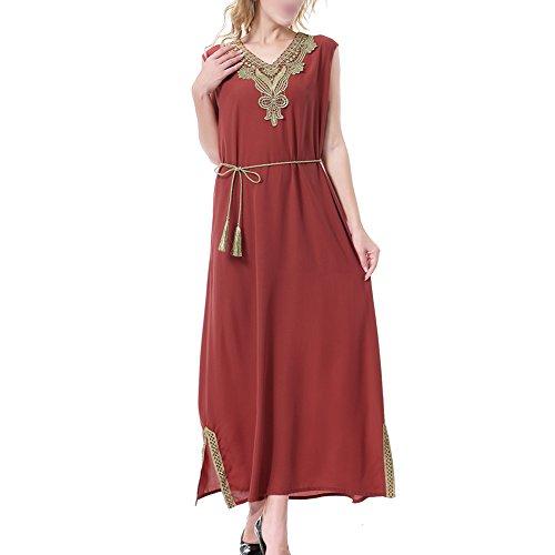 Haodasi Muslim Damen Ärmellos Abaya Kaftan mit Gürtel Dubai Saudi-Arabien Frau Tunika-Kleid islamisch Ethnisch Robe Cocktail Gown Jalabiyas,TH908 Maroon