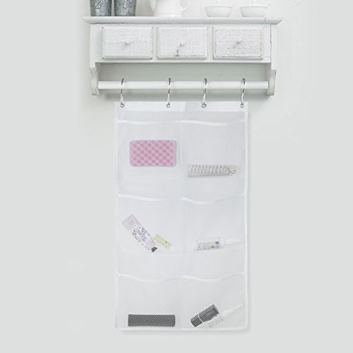 CHICTRY Quick Dry Hanging Caddy See Through Mesh Bath Organizer With Liner Hooks Hang On Shower