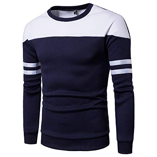 Sunhusing Men's Solid Color Stripe Long Sleeve Hoodie Sweatshirt Tops Cozy Splicing Pullover Shirt