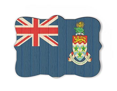 Rikki Knight Cayman Island Flag on Distressed Wood Design Ornate Decorative Rectangular Shaped Fridge Magnet (Shaped Fridge Magnet)