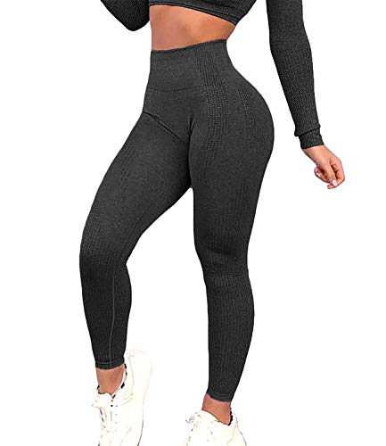 FITTOO Women's High Waist Seamless Leggings Ankle Yoga Pants Tummy Control Running Workout 4 Way Stretch Tights Peach Butt Black(S)