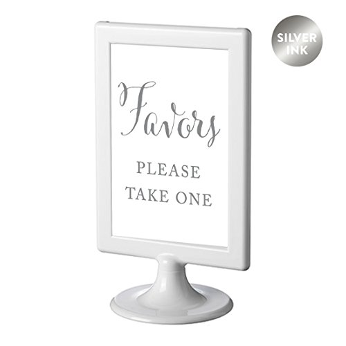 Andaz Press Framed Wedding Party Signs, Metallic Silver Ink, 4x6-inch, Favors, Please Take One, Double-Sided, 1-Pack, Colored Decorations -