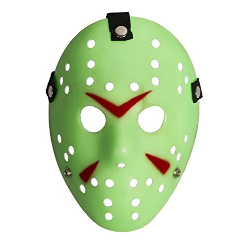 [Costume Prop Horror Hockey Halloween Myers (adult, glow in the dark)] (Glow In The Dark Halloween Costumes)