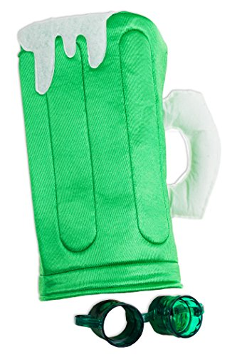 Make Goggles Beer (St. Patrick's Day Beer Mug Hat and Goggles 2pc One-Size Party Pack, Green White)