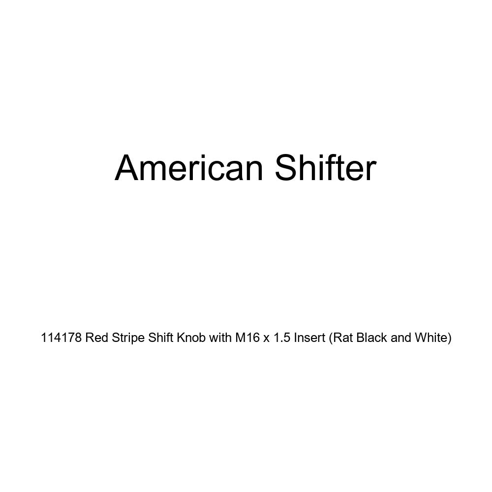 American Shifter 114178 Red Stripe Shift Knob with M16 x 1.5 Insert Rat Black and White