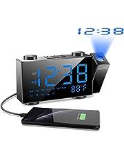 SZMDLX Projection Alarm Clock, FM Radio Alarm Clock with Temperature