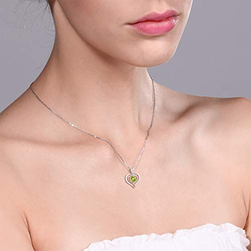 Gem Stone King Peridot Diamond Accent 925 Sterling Silver 10K Rose Gold Heart Shape Pendant Necklace