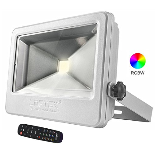 LOFTEK Nova Plus 50W Timing RGB Flood Light, 6 Levels Brightness Outdoor Color Changing Floodlight with Remote Control, IP66 Waterproof, 16 Colors 4 Modes Wall Washer Light, Stage Lighting, Silver