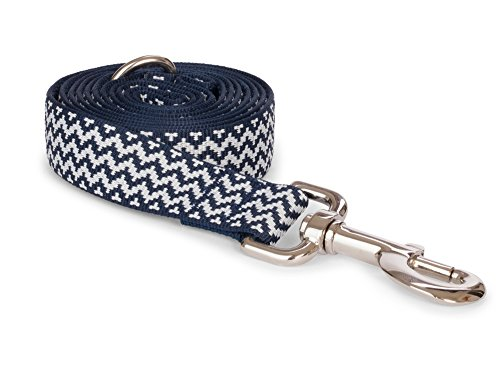 fabdog Chevron Stripe Dog Lead, Eco-Friendly Dog Leash (Navy, Large)