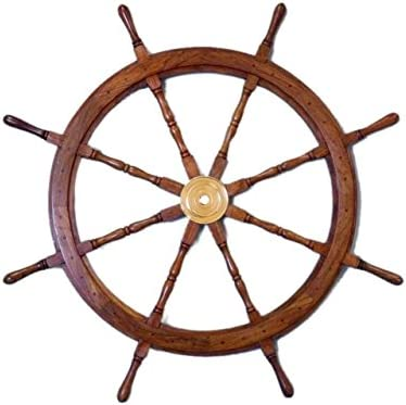Hampton Nautical Deluxe Class Wood and Brass Decorative Ship Wheel