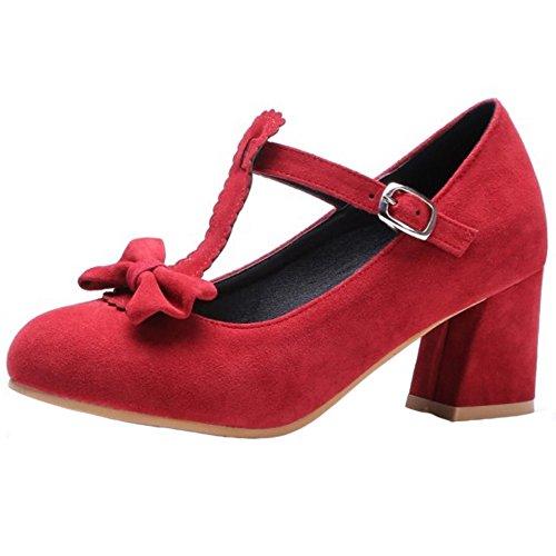 Baja Correa Zapatos con T en Boca Bombas Mujer Moda Bowknot COOLCEPT Rojo Tacon Zapatos R6BwqETYHH