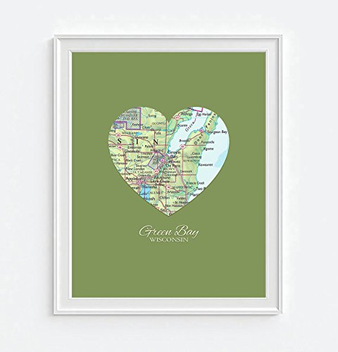 Green Bay Wisconsin Vintage Heart Map Art Print, UNFRAMED, Customized Colors, Wedding gift, Christmas gift, Engagement Anniversary Valentines day Housewarming gift, ALL - Packers Heart Green Bay