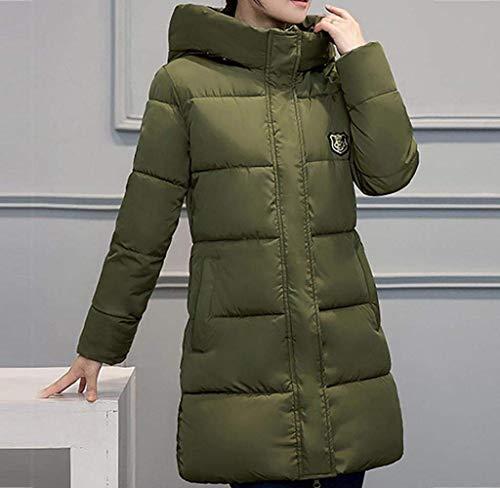 Colori Invernali Transizione Cappuccio Di Modern Donna Con Cerniera Armeegrün Tasche Laterali Solidi Cappotto Lunga Piumino Grazioso Mantello Manica Moda Stile Pulsante RA3jL45q