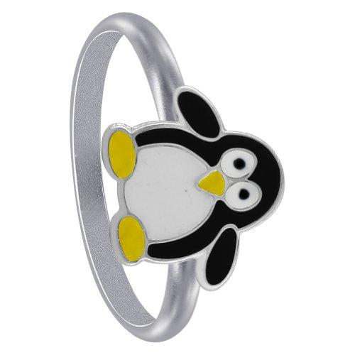 ing Silver Black Enamel Penguin kids Rings (Enamel Kids Ring)
