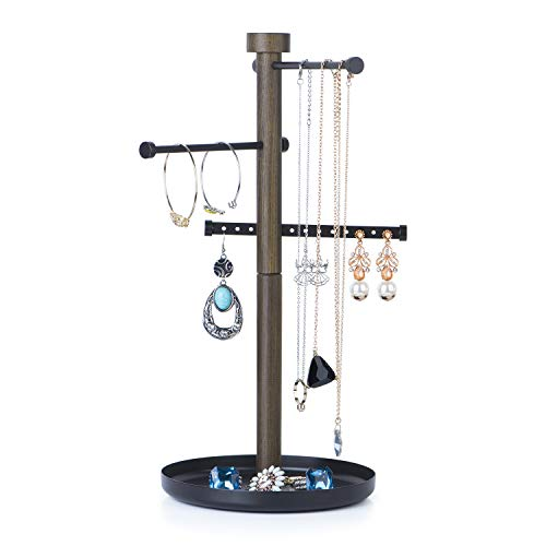 SRIWATANA Jewelry Organizer, Sign Post Jewelry Tree Stand Necklace Holder Jewelry Holder for Earrings, Bracelets, Rings and Watches