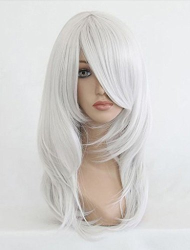 Sexy Women Shoulder Length Full Wigs Party Hair Cosplay Wig (White) NW03-2 (Black Long Wig With Two Braids)