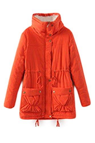 Elegante De Manga Larga Mujer Scoop Cuello Correa Acanalada Engrosamiento Button Up Cremallera Abrigo Con Bolsillos Orange