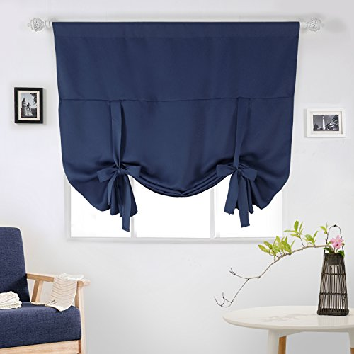 Deconovo Rod Pocket Blackout Curtain Tie Up Shade Window Panels for Living Room and Bedroom Navy Blue 46W x 63 One Panel