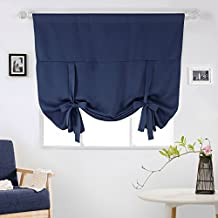 Deconovo Room Darkening Rod Pocket Adjustable Tie-up Thermal Insulated Blackout Curtain Panel For Small Window 46Wx63L Inch Navy Blue 1 Piece