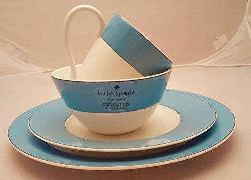 Vibe China Lenox - 16-Piece Kate Spade Lenox Rutherford Circle Turquoise Blue Pattern Dinner & Salad Plate, Bowl & Tea / Coffee Cup Set