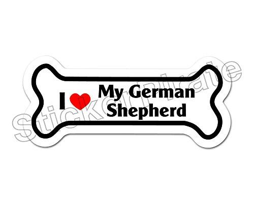 (Dog Bone Magnet I Love My German Shepherd Car Truck Locker Magnet)