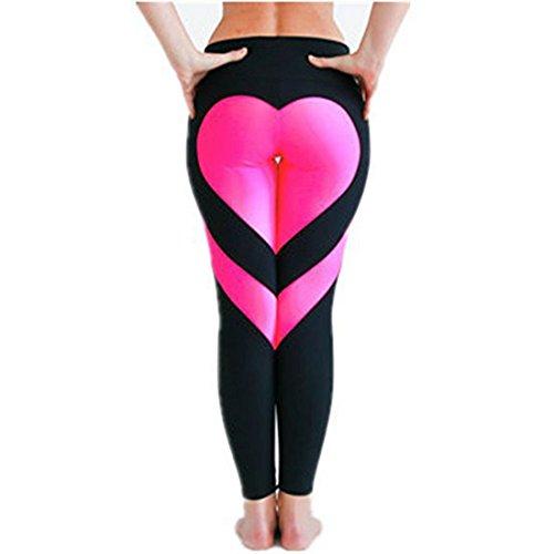 URIJK Women Buttocks Heart Pattern Yoga Pants Workout Sports Gym Leggings Running Pants (XL (US 6-8), black pink) Heart Yoga Pants