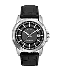 Bulova Men's Precisionist Leather strap Watch Grey 96B158