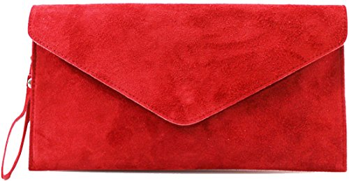 Purse Red Clutch Handbag Italian Bags Over Wedding Bag Envelope Cross Genuine Party Suede Leather HUS1x8gn