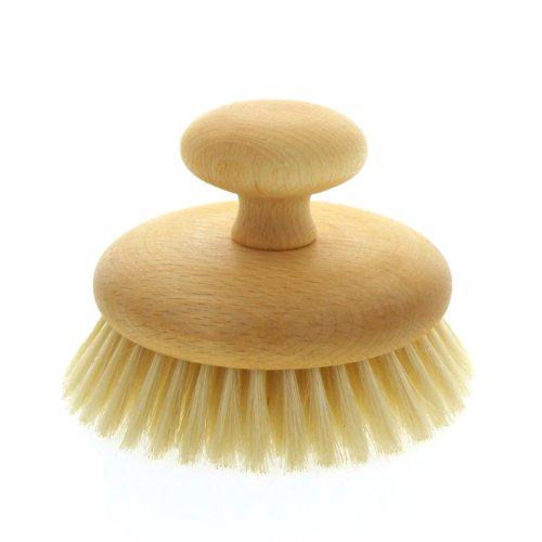 Runde Trockenmassagebürste, Buchenholz mit Knauf Trocken Massagebürste, 11cm Kosmetex