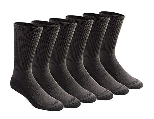 Dickies Men's Big and Tall Multi-Pack Dri-tech Moisture Control Crew Socks, Charcoal (6 Pair), Shoe Size: 12-15 (Best Fabric For Socks)