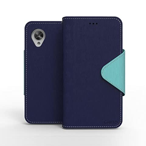 CellTo Google Nexus 5 Case [Navy Blue/ Mint] Case Premium Wallet Case [Slim Ultra Fit] Diary Cover w/ ID Pocket Top Quality [Made in - Slim Pocket Diary