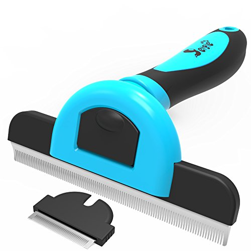 petgle Dog Hair Cat Brush Effectively Reduces Shedding By Up To 95% Professional Grooming Brush and Deshedding Tool for Dogs and Cats (4.0+1.8inch) ()