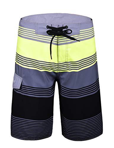 6feb7b983f Nonwe Men's Board Shorts Summer Sea Vacation Swim Trunks Grey Stripes 40