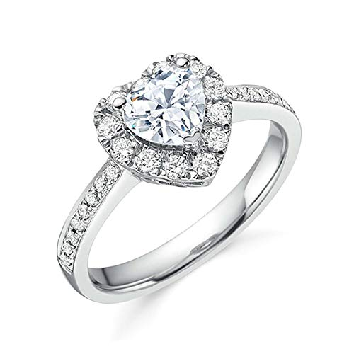 GSusan Heart-Shaped Zircon Ring Rhinestone Heart-Shaped Ring Ladies Ring Heart-Shaped Gemstone Ring Bridal Exquisite Jewelry Wedding and Engagement Anniversary Ring (Size: US 5,6,7,8,9) (5)