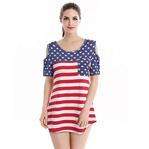Zlolia Women's American Flag Printed Long T-Shirt Cropped Off-Shoulder Short-Sleeved Patchwork Top Blouses with Pocket ()