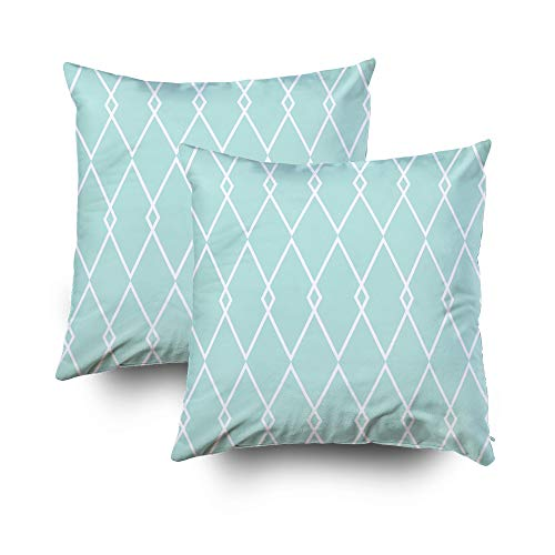 Capsceoll 16x16 Pack of 2Pillow Case,Tile Vector Pattern or Mint Green and White Wallpaper Background Pillow Covers,Decoration Pillow Cases Zippered Covers Cushion for Sofa Couch