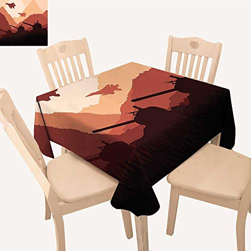 UHOO2018 Polyester Fabric Tablecloth Square/Rectangle Army Tanks Soldiers Guns Mounta at Sunset Battle Theme Image for Picnic,Outdoor or Indoor,50x 50inch -
