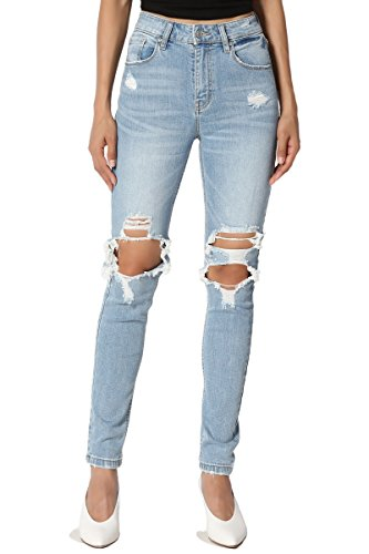 Vintage Low Rise Stretch Denim - TheMogan Women's Vintage Distressed Ripped High Rise Stretch Skinny Jeans Light 9