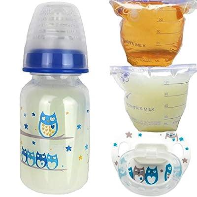 Reborn Sealed Bottle Bag Fake Formula Milk & Apple Juice Putty Pacifier Baby Doll Boy Owl - 4 PC Set: Toys & Games