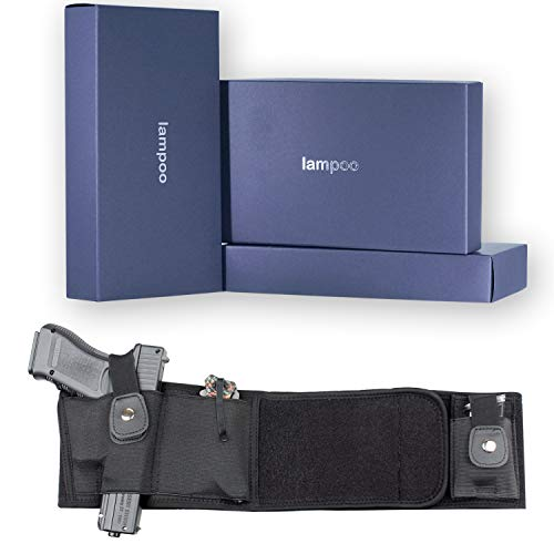 lampoo US Concealed Carry Waist Wrap Gun Holster Elastic Belly Band for Glock 17 19 22 23 26 27 31 32 33 43 45 (Gen 1-5) Men Women Black