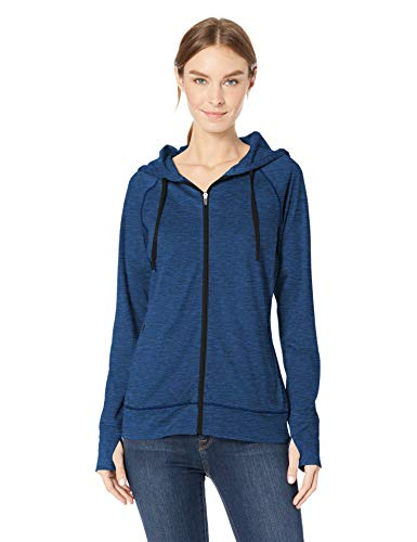 (Amazon Essentials Women's Brushed Tech Stretch Full-Zip Hoodie, Navy Space dye, X-Large)