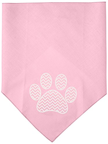 (Mirage Pet Products Chevron Paw Screen Print Bandana, Light Pink, Large)