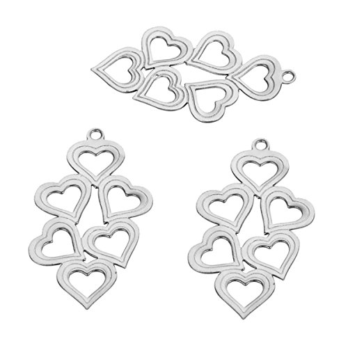 10PCS Stainless Steel Hollow Splice Heart Charm Pendant for Jewelry Making Findings ()