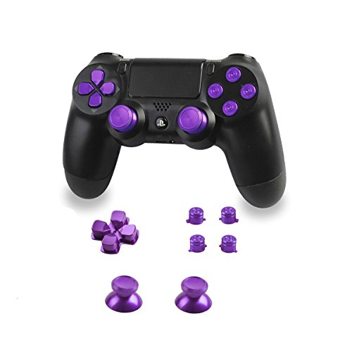 Xinkeen Aluminum Alloy PS4 Controller Replacement Thumbsticks Bullet ABXY Buttons and Directional Pad Mod Kit for Playstation 4 DualShock 4 (Purple)