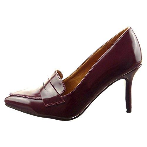Sopily - Zapatillas de Moda Tacón escarpín stiletto Tobillo mujer acabado costura pespunte Talón Tacón de aguja alto 8.5 CM - Rojo