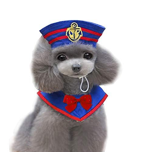 Coppthinktu Cat Dog Navy Costume - Halloween Pet Sailor Costumes Hat Navy Tie - Navy Cap Pet
