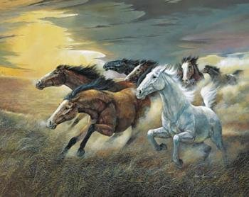 WallsThatSpeak 4 Wild Horses Vintage Art Prints Western Decor Pictures, 16 by 20-Inch, Blue/Brown/Yellow