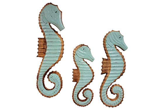 All Seas Imports Set of (3) Gorgeous HANDCARVED Wood SEA Foam Green Color Hanging Wall Decor Seahorses (Seafoam Green Wall Decor)